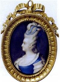 l'impératrice catherine ii de russie vêtue d'une robe de cour bleue, manteau d'hermine et coiffée d'un haut chignon orné de rubans, fleurs et plumes d'autruche by jean-baptiste voïart