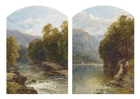 figures on a path by a lake (+ a wooded stream; pair) by john brandon smith