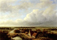 a panoramic view of the outskirts of haarlem, with a steam train in the distance by jan hendrik willem hoedt