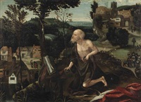 the penitent saint jerome in an extensive rocky landscape by joachim patinir
