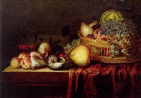 grapes, pears, peaches and a melon in a basket, with quinch, cherries...on a draped wooden table by johannes bouman