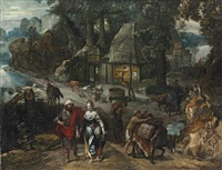 a hamlet in a wooded clearing with jacob and rachel by marten van valkenborch the elder