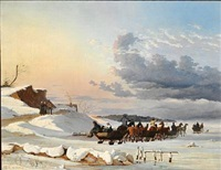 swedish sledges on their way back after having sold goods in copenhagen. the slope at skovshoved. painted in nyboder in the winter by johan thomas lundbye
