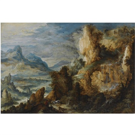 a panoramic mountainous landscape with two shepherds and their cattle resting along a path in the foreground by kerstiaen de keuninck