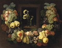 a garland of grapes, peaches, plums and apples by ottmar elliger the elder