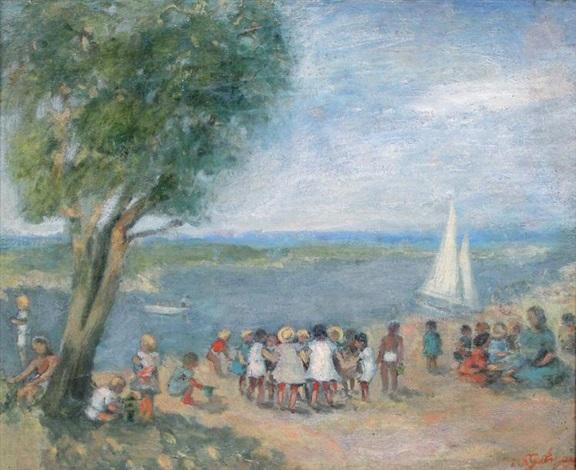 enfants au bord de leau by nathan gutman