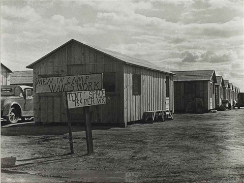 auto camp for migratory workers in grapes and cotton men in camp wants work tent space 75 cent per wk kern county march by dorothea lange