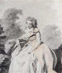 femme assise dans un paysage by jacques antoine marie lemoine