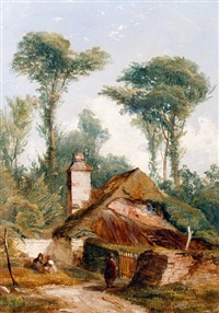 figures by a cottage by william (of plymouth) williams