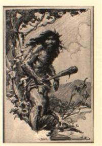 sketch of a barbarian by roy krenkel