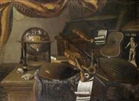 nature morte d'instruments de musique aux luths, violons et flûtes, avec des coquillages et une mapppemonde sur un entablement recouvert d'un tapis by evaristo baschenis