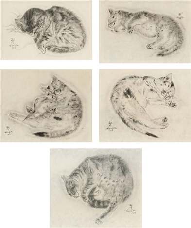 5 plates (from book of cats) (set of 5) by léonard tsuguharu foujita