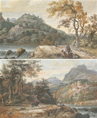 paysage de rivière animée de personnages (+ another, similar; pair) by gerrit (gerard) battem