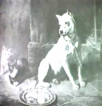 a reluctance to share/genre scene with dog and kittens by edward robert physick