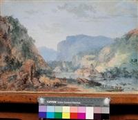 paysage rocheux et boisé à la rivière avec villageois au repos et en chemin by francesco foschi