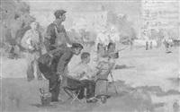 junger maler am hauptplatz von odessa by ivan ivanovskij