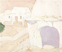 clay oven in a house in aegina (+ view of parnassus, 1927; 2 works) by spyros papaloukas