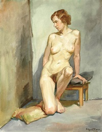 a seated nude woman (a pair) by paul hauptmann