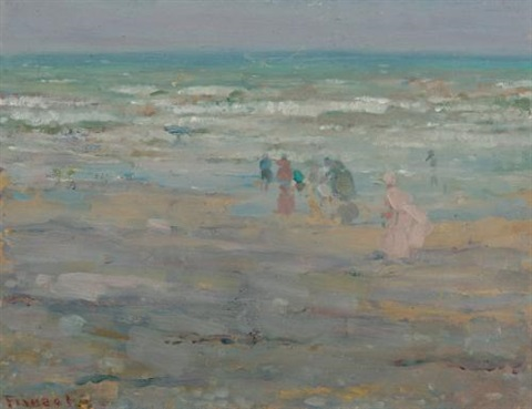 beach in corsica by frederick carl frieseke