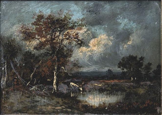 vache sabreuvant à la rivière by jules dupré