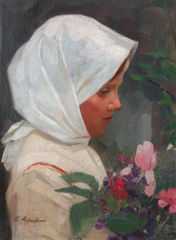 little girl with flowers by constantin artachino