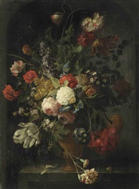 violets, pink and white roses, carnations, tulips, blue morning glory, a peony, a hyacinth and various other flowers in a vase, on a stone ledge with a pupa and a snail by coenraet (conrad) roepel