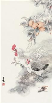 双吉图 (roosters) by liu yukuan