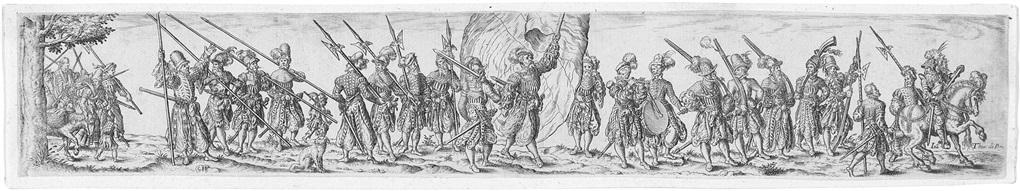 soldatenzug nach rechts in der mitte ein fahnenschwinger after j amman by johann theodor de bry