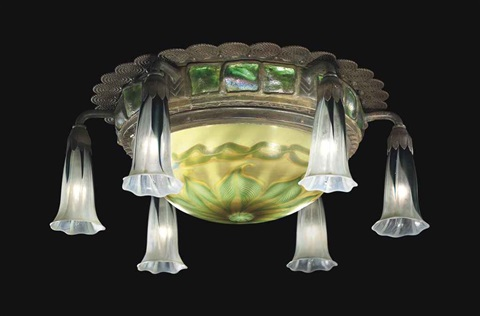 six light lily and turtleback tile ceiling light by tiffany studios
