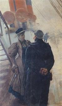 sur le pont du paquebot by louis anet sabatier