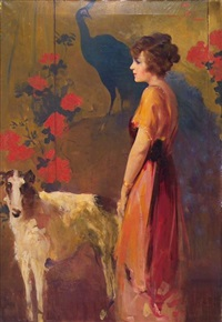woman standing with wolfhound by william frederick foster