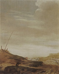 a dune landscape with a horsedrawn waggon on a path, and a dog in the foreground by pieter cornelius verbeeck