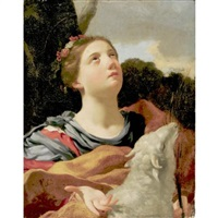 st. agnes with the lamb by michel dorigny