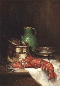 lobster with mussels, a green jug and cooking utensils on a ledge by raymond allègre