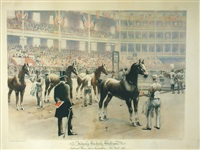 judging hackney stallions - national horse show association, new york, 1892 by william sullivant vanderbilt allen