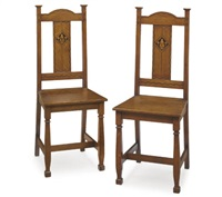 inlaid side chairs (pair) by mackay hugh baillie scott