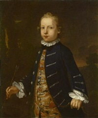 portrait of a boy, traditionally identified as 'master best' in a blue coat and floral waistcoat by john simmons