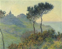 l'église de varengeville, soleil couchant by claude monet