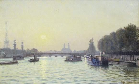 la seine le pont alexandre iii en fond lancien trocadero by charles victor guilloux