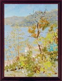 trees along a lake by pierre lelong