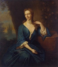 portrait of anne seton in a blue dress by richard waitt