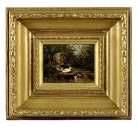 canards et canetons en sous-bois by théophile victor emile lemmens