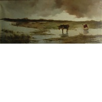 donkey in a marsh landscape by colin hunter