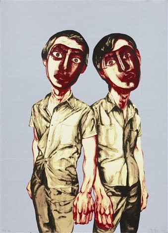 mask series two men by zeng fanzhi