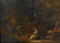 monks debating in a grotto by egbert van heemskerck