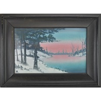 large scenic vellum plaque with winter scene by sallie (sara elizabeth) coyne