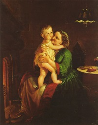 mother and child by the hearth by lilly martin spencer