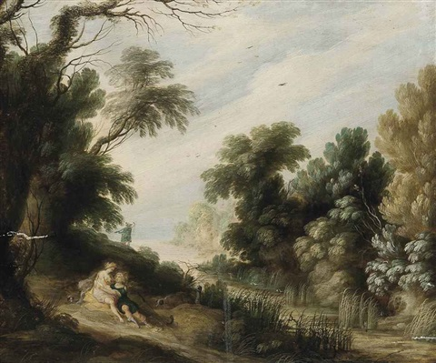 a wooded river landscape with venus and adonis by alexander keirincx