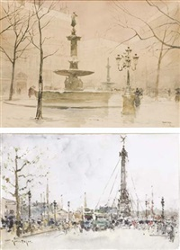 la place de la bastille (+ la place colette, paris, pencil & wc; 2 works) by francis garat