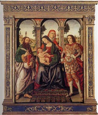 a sacra conversazione: the madonna and child with saint bartolomew and michael, within an architechtural setting by ranieri di leonardo da pisa